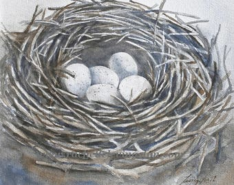mom Gift for her nest painting of nest PRINT of nest 5 eggs Gray nuetral decor spring decor birds nest PRINT neighbor gift for grandma