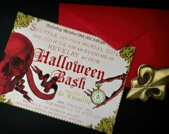 Halloween Party Invitation, Skeleton, Costume Party Invite, Printable, Custom Text, DIGITAL