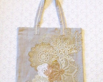 Celebrate8K Vintage Lace Doilies Linen Shopping Tote Book Beach Bag