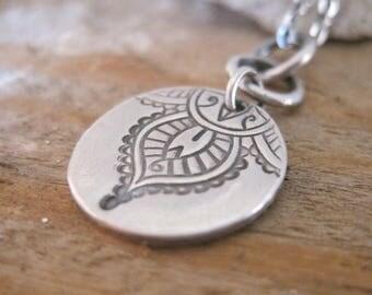 Mehndi Charm Necklace, Handmade Yoga Jewelry, Sterling Silver Charm Necklace, Metal Clay Jewelry