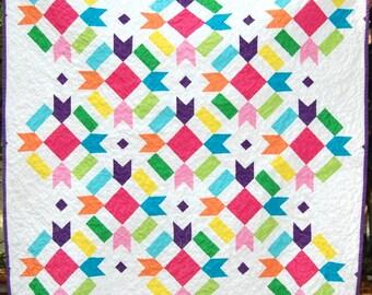 Beautiful Bright Handmade Baby Quilt, Handmade Baby Girl Quilt, Colorful Handmade Baby Girl Quilt