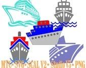 Cruise Ships Set #01 Bundle of5 Embellishment Cut Files MTC SVG SCAL V2 and more Digital File Format