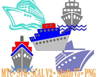 Cruise Ships Set #01 Bundle of5 Embellishment Cut Files MTC SVG SCAL V2 and more Digital File Format