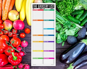The Grocery List Notepad STANDARD (large magnetic refrigerator note pad for groceries, shopping list, organized into sections)