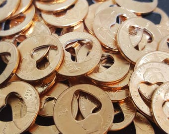 Penny favors, heart cut out pennies, 50 penny favors, Lucky penny favors, Wedding Favors, Bridal shower favors
