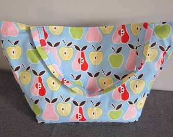 Market Bag, Apples, Pears, Foodie, Subway Bag, Grocery Bag, 100s Fabric Choices