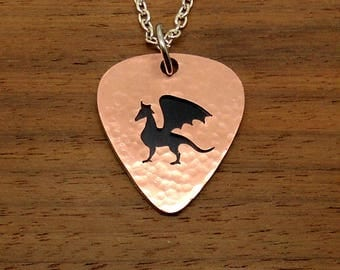 Black Dragon Necklace, Copper Guitar Pick Pendant, Keychain, Keyring, Chain, Copper Overlay, Dragon Keyring, Chain Or Key Ring