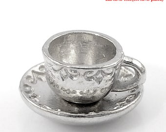 Coffee Cup Charm - Tea Cup Charm/Cup & Saucer - Set of 10 - Silver Tone - #SH316