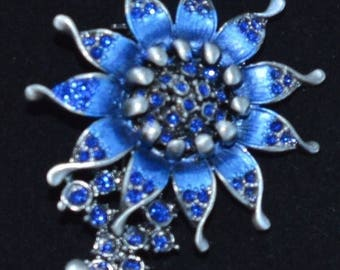 ON SALE Pretty Vintage Royal Blue, Rhinestone Floral Brooch, Butterfly, Darkened Silver (F9)