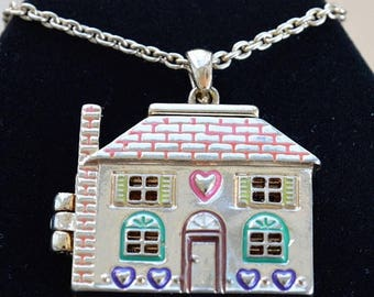 "ON SALE Cute House Necklace, Vintage, Realtor, New Home, 32""-34"" (AG4)"
