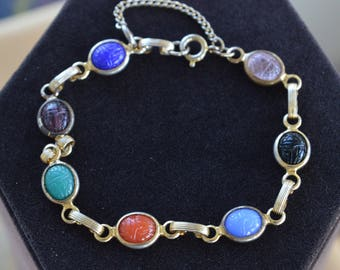 "Multi-Colored Scarab Bracelet, Gold tone, Vintage, 8-1/4"" (TB104)"