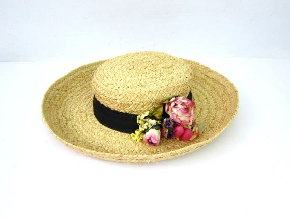 Vintage Brim Straw Hat with Flowers Gardener Farm Raffia Hat Woven Summer Hat Black Ribbon Band with Flowers Natural Straw Hat Womens Small