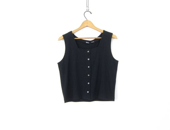 Basic Black Tank Top with Button Front Vintage Cropped Rib TShirt Plain Muscle Tee Easy Tank Top Casual Ribbed Tee Womens Size Large