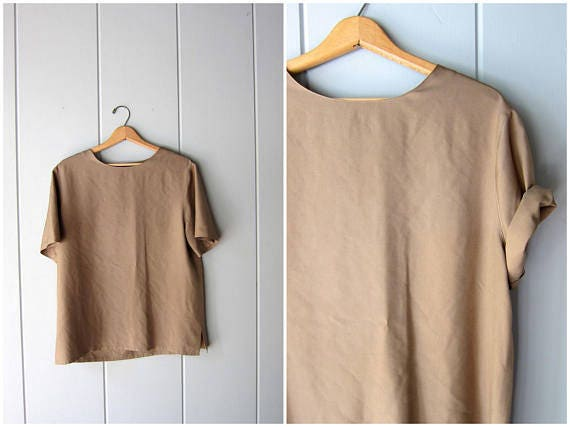 90s Silk Top Taupe Brown Modern Vintage Boxy Silk Top Short Sleeve Casual Silk Blouse Minimal Silk Tee Womens Large