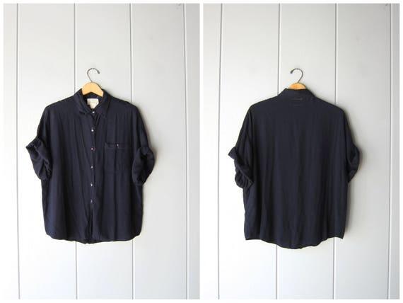 Oversized Rayon Shirt Midnight Blue Button Up Shirt Minimal Tshirt 80s 90s Baggy Shirt Slouchy Simple Basic Top Plain Shirt Womens Large XL