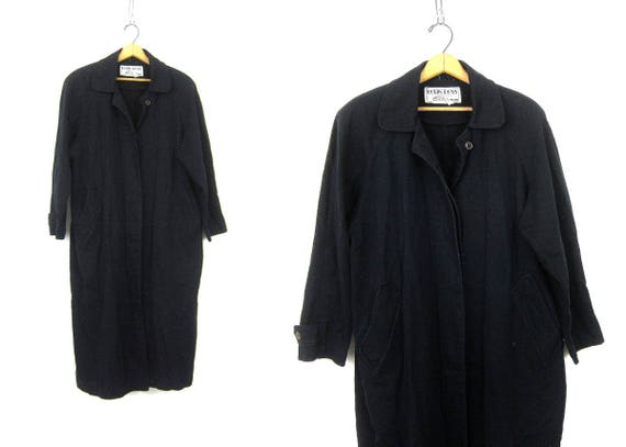 Vintage Black Trench Coat Button Up Slouchy Duster Jacket Preppy Robin Ross Denim Trench Coat Women's Size Medium