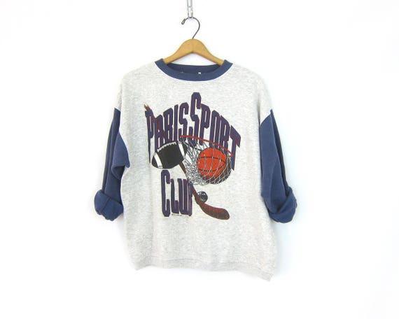 Gray Sporty Sweatshirt Athletic Sweater 90s Paris Sport Club Cotton Mix Basketball Football Hockey Sweater Size Medium Large