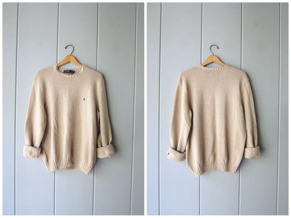 90s POLO Sweater Oatmeal Beige Cotton Boyfriend Pullover Soft Fall Sweater Crewneck Preppy Vintage Minimal Simple Sweater Womens Large