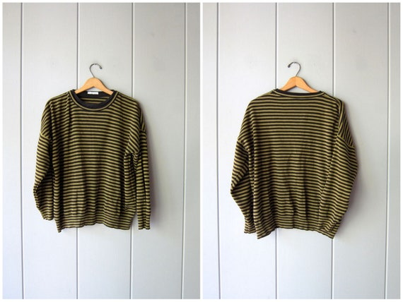 90s Oversized Shirt Olive Green & Black Striped Sweatshirt Long Sleeve Slouchy Pullover Baggy Hipster Graphic Cotton Shirt Womens XL 2XL