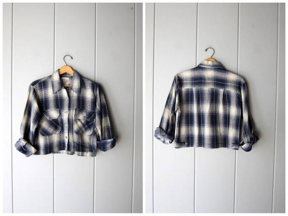 Cropped Plaid Shirt Vintage 90s Cotton Flannel Shirt Jacket Preppy Blue White Grunge Plaid Cropped Flannel Shirt Womens Small