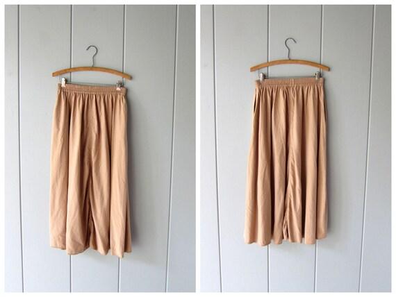 Minimal 90s SILK Skirt Natural Beige Midi Skirt High Waist Silk Skirt w/ Pockets Plain Basic 80s Long Modern Silk Skirt Womens Medium Large