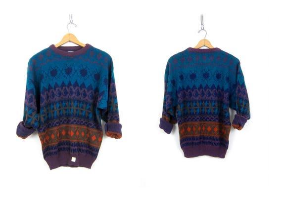Retro Sweater Boyfriend Pullover Top Geometric knit Pattern Sweater Jumper Hipster Crewneck 1980s Sweater GITANO Size XL