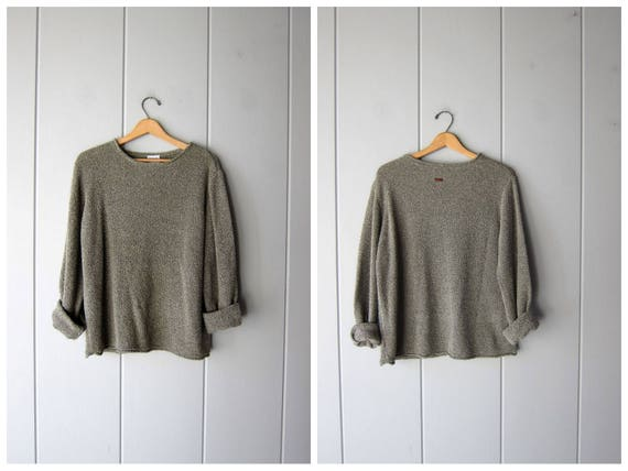 Nubby Knit Sweater Top Slouchy Sage Green Thin Knit Sweater Minimal Pullover Shirt Plain Long Sleeve Top Basic Oversized Vintage Womens XL