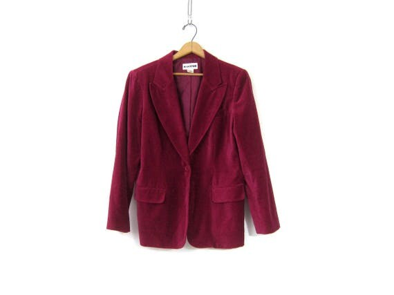 Magenta Velvet Jacket Vintage Soft Velvet Blazer Fall Jacket w Pockets Rosy Purple Smoking Jacket Modern Fall Jacket Womens 12 Medium Large