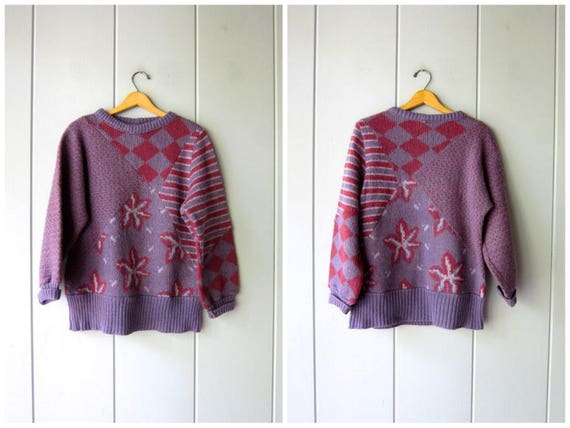 Vintage Wool Icelandic Sweater 80s Purple Red Pink CHUNKY Floral Knit Jumper Iceland Sweater Thick Wool Knit Pullover Womens Medium Large