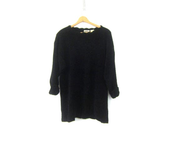 Long Black Plush Sweater Soft Knit Chenille Jumper 90s MINIMAL Long Open Knit Sweater Vintage Womens Size Large