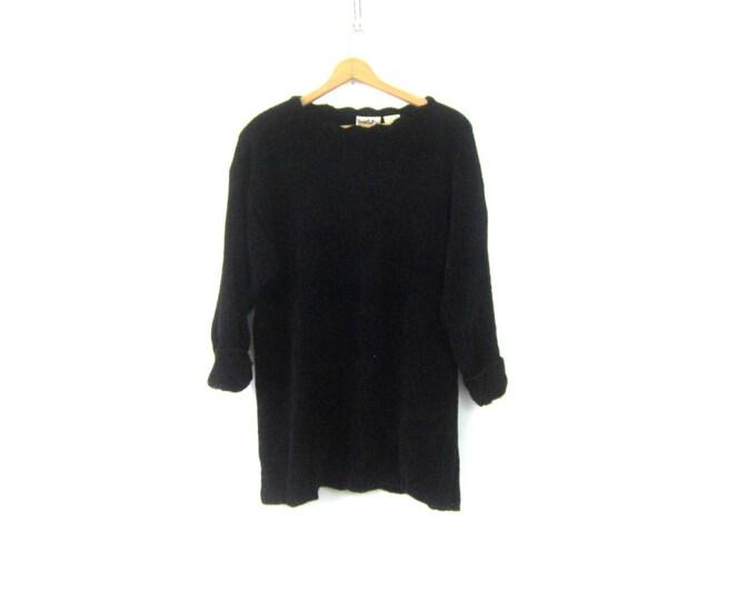 Long Black Plush Sweater Soft Knit Chenille Jumper 90s MINIMAL Long Open Knit Sweater Vintage Womens Size Large