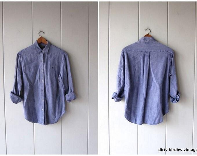 Blue Linen Shirt 90s Button Up Shirt Long Sleeve Oxford Minimal Collared Shirt Washed Out Look Linen Shirt Ralph Lauren Womens Medium
