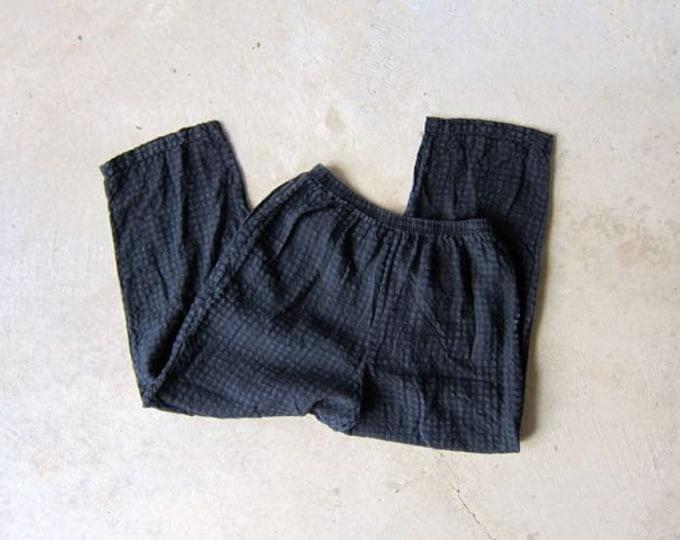 Minimal Black Linen & Rayon Pants 90s Vintage Black Capris Loose Fit Pants Elastic Waist Trousers Summer Resort Vacation Wear Womens Medium