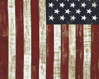 "24"" Fabric Panel - Timeless Treasures Patriotic Rustic American Flag Wallhanging"