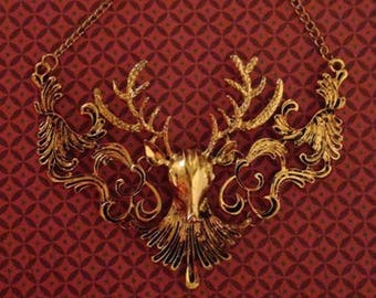 Goldtone Deer Stag Fall Fashion Necklace