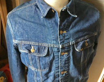 Vtg 80s American made blue jean jacket by Lee mens size 50 Long (xxl)