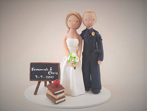 Unique Cake Toppers - Police Officer & Teacher Personalized Wedding ...