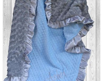 SALE Gray and Blue Minky Baby Blanket for a Baby Boy, Silver Satin Ruffle Minky Blanket available in three sizes, Can Be Personalized