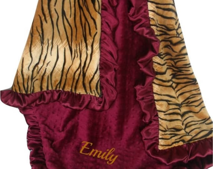 SALE Burgundy and Gold Tiger Baby Blanket Burgundy Ruffle, Wine and Tiger Print Baby Blanket, available in three sizesCan Be Personalized