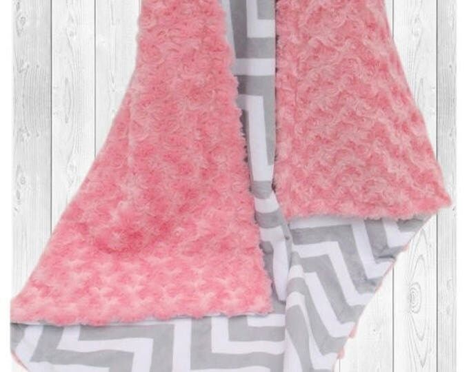 SALE Coral and Gray Chevron Minky Dot Baby Blanket, Salmon Coral Minky Blanket, Coral Rose Swirl Baby Blanket Can Be Personalized