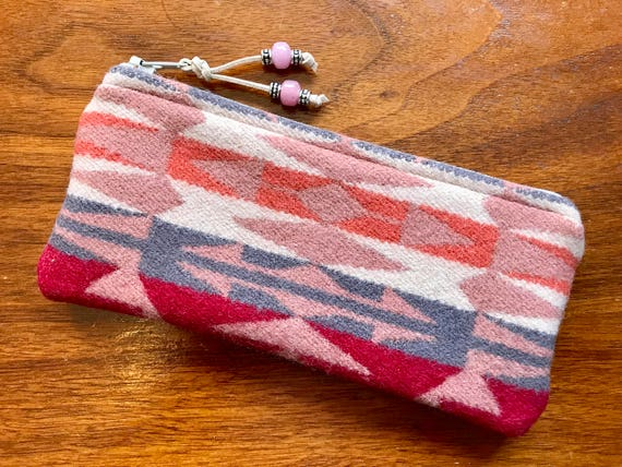 Wool Glasses  Case / Tampon Case / Zippered Pouch Salmon Pink