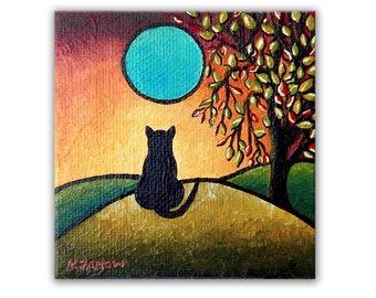 Black Cat Moon Original Painting on Canvas, Whimsical Folk Art Landscape