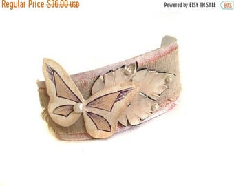 50% OFF SALE Shabby chic leather bracelet Monochrome vintage style Linen Cuff Bracelet  Women's bracelet Leather jewelry