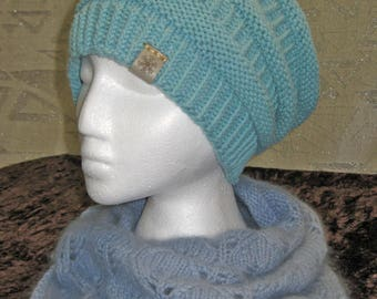 Sage Green Rib and Purl Slouchy Hat