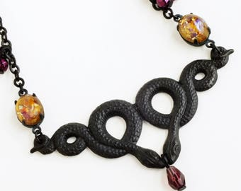 Snake Necklace Black Brass Serpent Art Nouveau Double Snake Pendant Black Snake Jewelry Black Metal Necklace