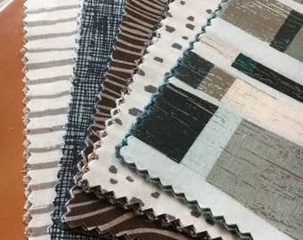 "Knock on Wood by Riley Blake / Charm Pack / Fabric Collection - 5"" square stackers, 42 pieces / gift for him, blue, brown, grey, green DIY"