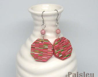 Cherry Blossom Patchwork dangle earrings, pink polymer clay octagons on steel ear wires