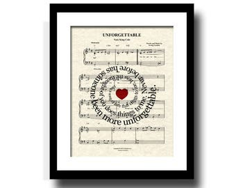 Unforgettable by Nat King Cole Sheet Music Art, Custom Wedding and Anniversary Gift, First Dance Art, Names and Date Art