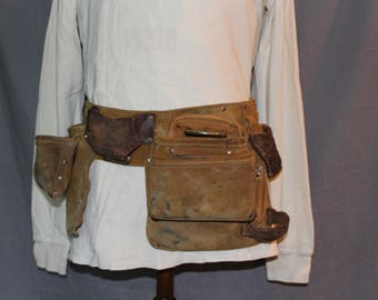 Vintage Leather tool Belt, Made in USA, 1970s