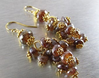 25 OFF Mystic Brown Labradorite With Gold Cluster Earrings